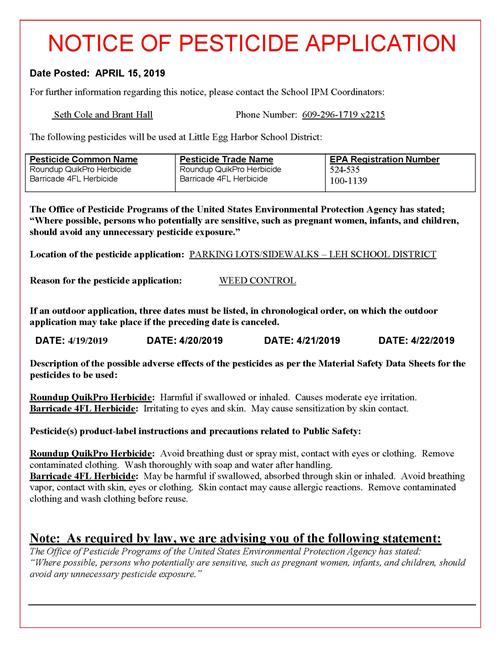 Notice of Pesticide Application April 2019