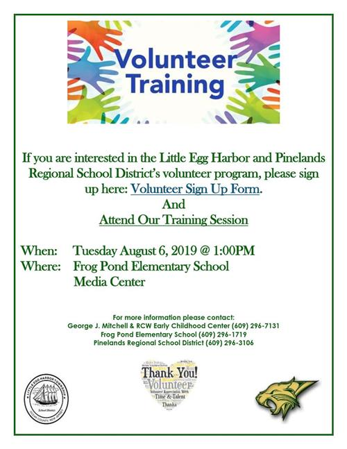 Volunteer Training Flyer for August 6 2019